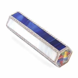Krasohled skleněný střípkový modro-bílý